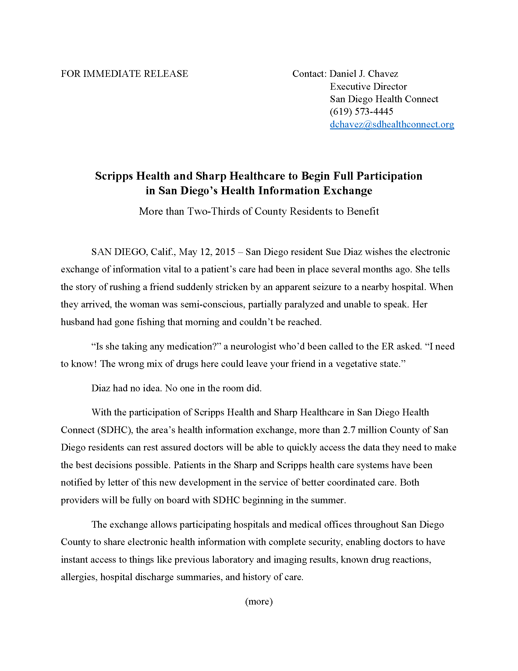 San Diego Health Connect PRESS RELEASE FINAL 51215 Page 1