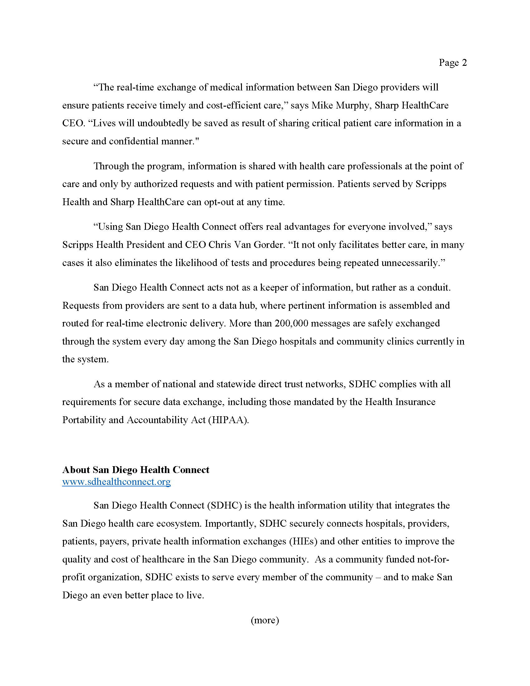 San Diego Health Connect PRESS RELEASE FINAL 51215 Page 2